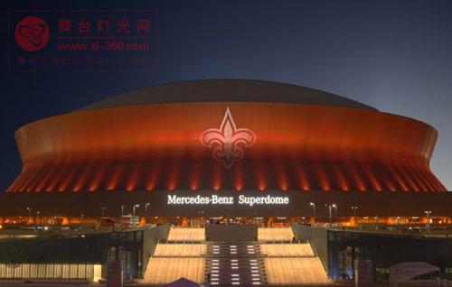 新奥尔良超级圆顶体育场夜空璀璨 夜色流光