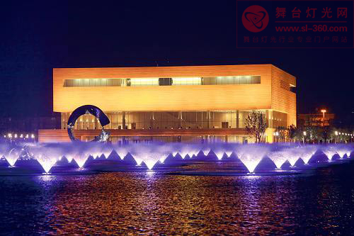 天津文化中心景观灯光启动夜景迷人(组图)